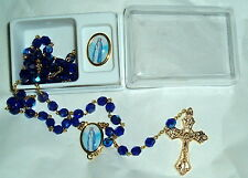 OUR LADY OF POZO  Crystal Rosary w/Lapel Pin Italy 21in Catholic MARY BLUE/GOLD