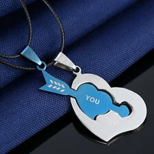 V.Gly Chain Necklaces Men Women Couple Stainless Steel I Love You Heart Pendant