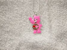 Pink LOVE A LOT CARE BEAR Inspired Large Charm NECKLACE