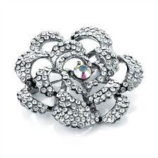 Nueva plata tono allanar Transparente AB cristal flor Vestido Broche Boda nupcial br2100