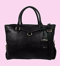 DKNY CROSBY East/West Black Leather MD Shopper Bag Msrp $398.00