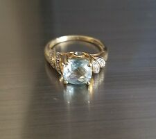 14K YG (3.7 grams) Cushion Cut Aquamarine & Diamonds Ring Estate
