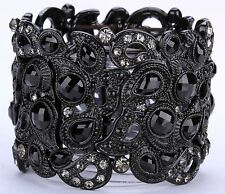 Wide Peacock Style Stretch Cuff Bracelet Crystal Rhinestone Fashion Black  BD14