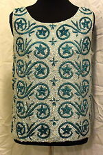 VINTAGE 60'S REGALIA IMPORTS WHITE/TEAL SEQUIN AND BEADED LAMBSWOOL TOP SIZE M