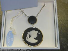BEAUTIFUL SILVER WEDGWOOD WHITE ON BLACK JASPERWARE NECKLACE ROUND CLASSIC MUSE