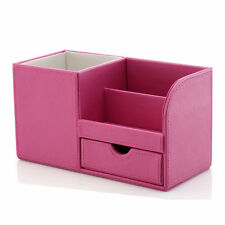Faux Leather Office Decor Desk Organizer Stationery Holder Storage Box Pink