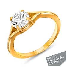 Mahi Swarovski Zirconia Solitaire Gold Plated Ecstatic Finger Ring FR1105001G