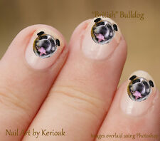 British Bulldog  Set of  24 Dog Nail Art Stickers Decals by Kerioak