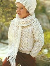 "Girls Boys Aran Knitting Pattern Sweater Hat Scarf 22-32""  236"