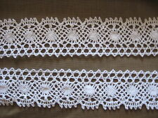 10 YDS SCALLOPED WHITE COTTON CLUNY LACE TRIM.