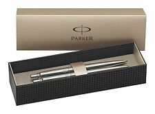 Parker Jotter Stainless Steel Ball Point Pen & Pencil Set With Gift Box Blue Ink