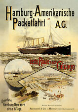 Hamburgo americana Packetfahrt AG New York chicago barco mercante carteles a3 280