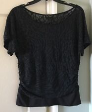One Step Up Short Sleeve Black Blouse Sheer Top Lined Tummy Women Sz M