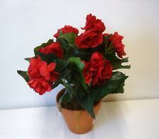 New 11in Tall Potted Red Begonia Bush Artificial Silk Flowers Pot Plant