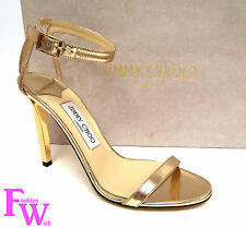 New JIMMY CHOO Size 7.5 Gold DAISY Ankle Strap Sandals Shoes 38