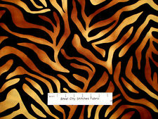 Zebra Tiger Hide Brown Black Jungle Safari Animal Print VIP Cotton Fabric 1.9 Yd