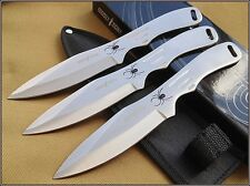 "8"" OVERALL PERFECT POINT SILVER SPIDER THROWING KNIVES NYLON SHEATH - 3 PCS SET"