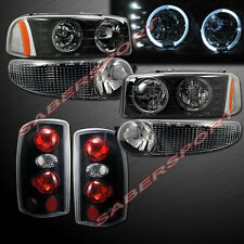 2000-2006 GMC YUKON DENALI HALO HEADLIGHTS w/ LED + BUMPER + BLACK TAIL LIGHTS