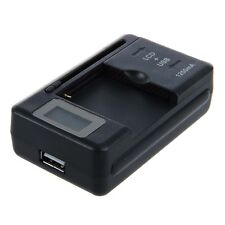 Universal LCD Mobile Cell Phone Battery Charger USB Fast Black I5I3