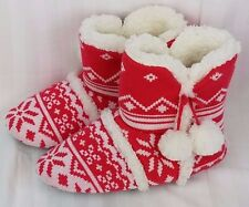 M Victoria's Secret Red Fair Isle Warm Bootie Slipper Mukluk House Shoes Medium