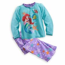 Disney Store Princess Little Mermaid Ariel 2PC Long Sleeve Pajama Set Girl 5/6