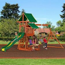 Outdoor Playground Playset Wooden Swing Set Slide Backyard Swingset Kids Play