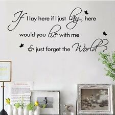 If I Lay Here Snow Patrol Wall Decals Quote Sticker Room Decor Removable Vinyl