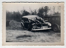 ORIGINAL 1930s CAR CRASH Photograph PHOTO Antique VINTAGE Accident ATTLEBORO MA