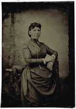 Seated Middle Aged Lady Tight Dress 1880's Tintype