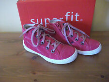 Girls SUPERFIT 103 Red SUEDE Zip/Lace BOOT Size UK 8 EUR 26 NEW!