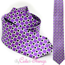 Purple Checker Plaid Black Stars Necktie Fashion Tie Novelty Necktie