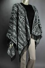 New MINK PINK Charcoal Black Gray Fringe Poncho Jacket XS Extra Small