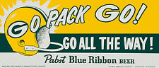 """1960's Green Bay Packers Pabst Blue Ribbon Beer Poster (replica) 10""""x24"""" Photo"""