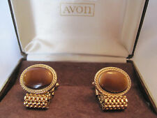 "Avon ""Convertible"" Cufflinks, Removable Mesh Chain, Brown Glass, New Old Stock"