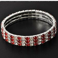 Twinkling White Gold Silver 3-Row Clear Red CZ elastic Tennis Bracelet
