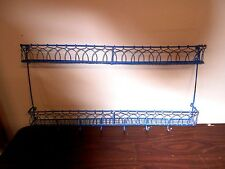 VINTAGE BLUE WIRE RACK FOR PLATES  & CUPS OR HANG JEWELRY FROM HOOKS & WHATEVER