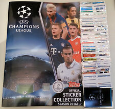UEFA CHAMPIONS LEAGUE STICKERS 2016/17 COMPLETE FULL SET & ALBUM TOPPS UCL
