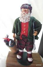 Old Fashioned Golf Santa with Bag and Clubs 12""