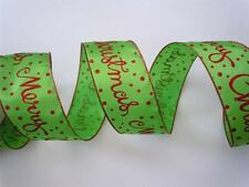 5yd Glittering Red Green Merry Christmas Scripts Wired Ribbon Wreath Door Bow