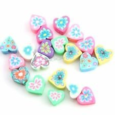 100x 110945 Charms Mixed Color Heart Flower FIMO Polymer Clay Spacer Beads 8mm