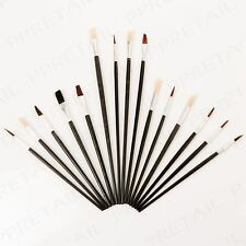 15Pc ASSORTED ARTIST PAINT BRUSH SET Small-Large Art Craft Flat/Pointed/Round