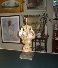 Porcelain Lamp Capodimonte Angels Roses Gold made in Italy, Brass Base.