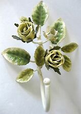 YELLOW  ROSE  METAL TOLE STYLE  WALL HANGER VINTAGE  FRENCH COUNTRY
