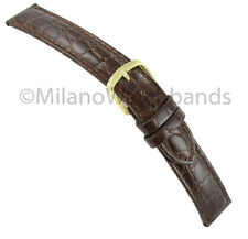 17mm Hadley Roma Genuine Leather Crocodile Grain Brown Watch Band Strap MS717
