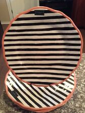 Cynthia Rowley Dinner Plates MELAMINE Black White Stripe Set 4- New