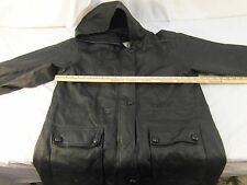 Adult Men's Middlebrook Park Hooded Black Leather Coat Long Good Shape 30549