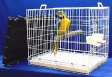 "X-LARGE MACAW PARROT TRAVEL CAGE +2-20 oz cups +pedicure perch -30""Lx22""Wx24""H"
