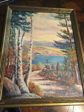 Vintage listed artist LUCILLE SYLVESTER Swan Lake Swanville Maine PAINTING