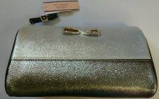 BNWT VIctoria's Secret Silver large clutch bag purse Bling make up cosmetic
