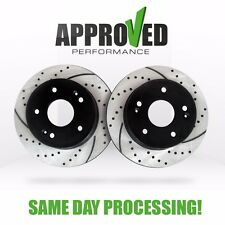 Rear / Back Brake Rotor Kit Black Powder Coated Drilled and Slotted Brake Rotors